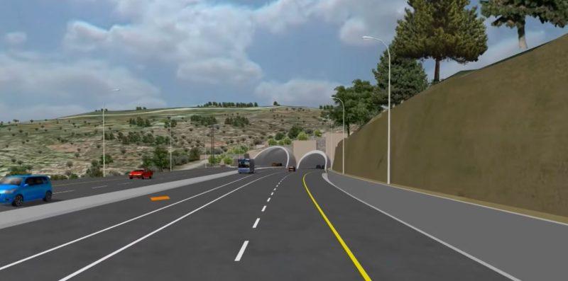 הדמיית כביש המנהרות | קרדיט: משרד התחבורה