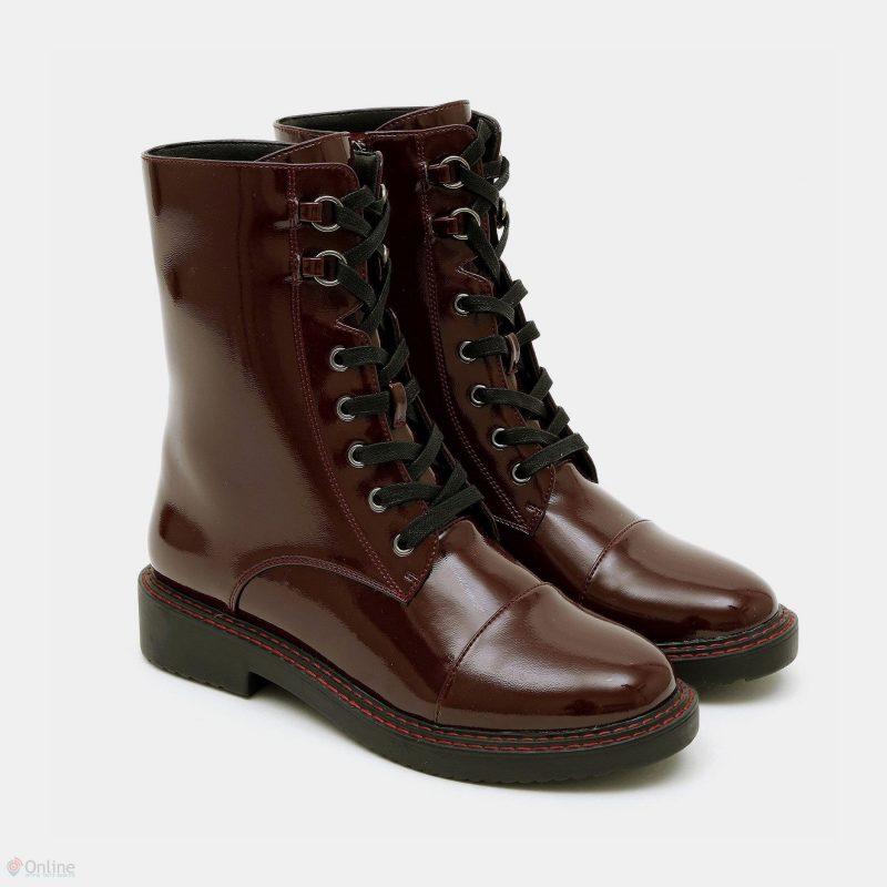 Seventy Nine ברשת וישוז - נעליים גבוהות עם שרוכים 1030 זואי בצבע בורדו - צילום עמירם בן ישי - מחיר 299 שח